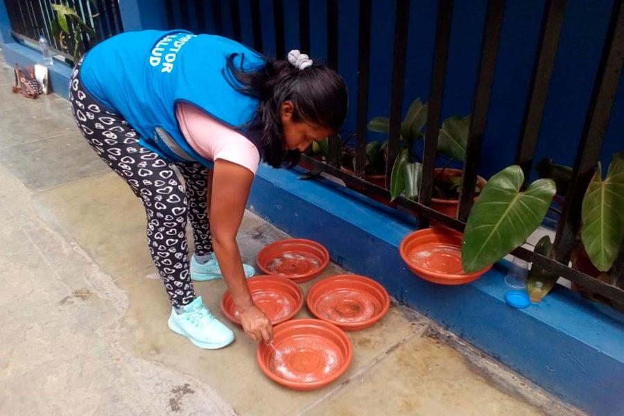 Control de plagas Muniventanilla revisando el agua en varios recipientes